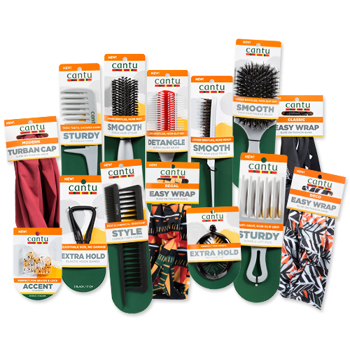 Group of Cantu accessories including combs, brushes and hair wraps